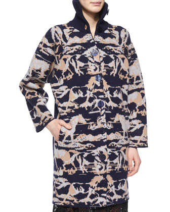 Horse-Print Jacquard Car Coat