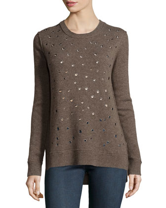 Cashmere Grommet-Detail Sweater, Chestnut