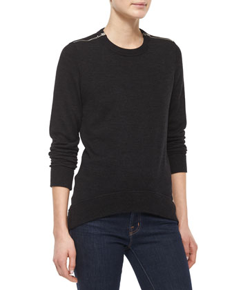 Zipper-Detail Sweater, Charcoal