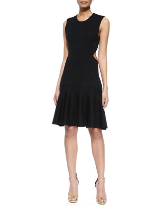 Cutout Flare Dress, Black