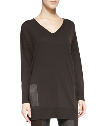 Leather-Pocket V-Neck Tunic