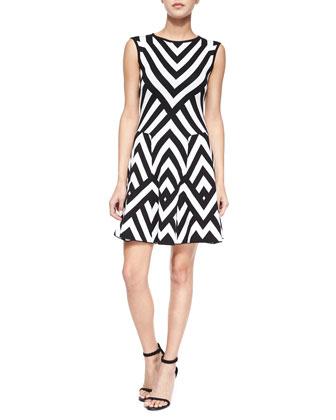 Sleeveless Chevron Intarsia Godet Dress