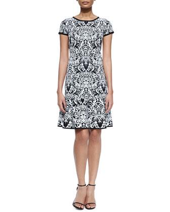 Cap-Sleeve Floral Jacquard Drop-Waist Dress