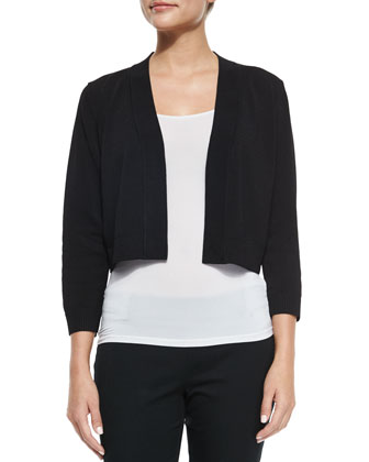 3/4-Sleeve Jersey Shrug, Black