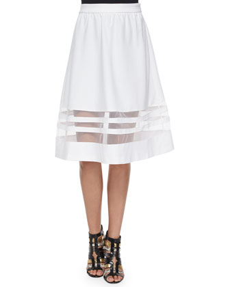 Ponte Full Skirt W/ Mesh Panels
