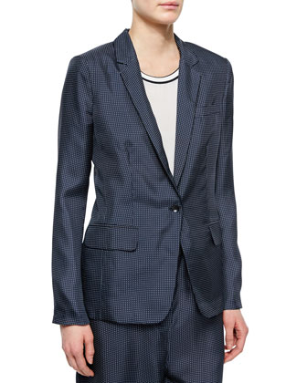 Belmar One-Button Micro-Dot Blazer & Gabrielle Micro-Dot Pants