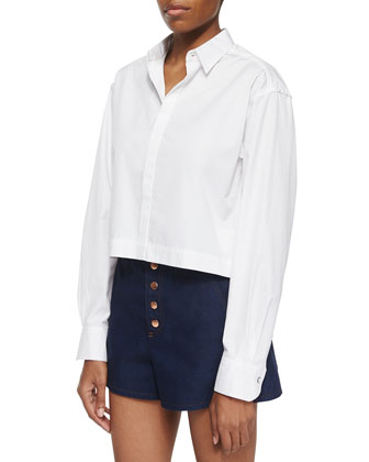 Audrey Long-Sleeve Crop Shirt & Branson Button-Front Denim Shorts