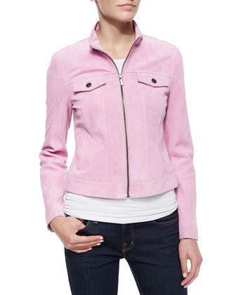 Suede Jean-Style Jacket, Pink