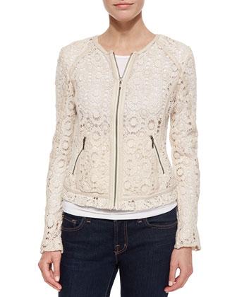 Crochet Jacket with Lambskin Trim