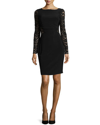 Long-Sleeve Lace Cutout Dress, Black