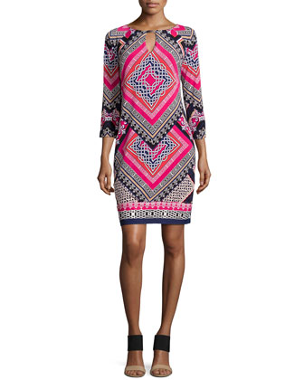 Geometric-Print Dress, Pink Multi