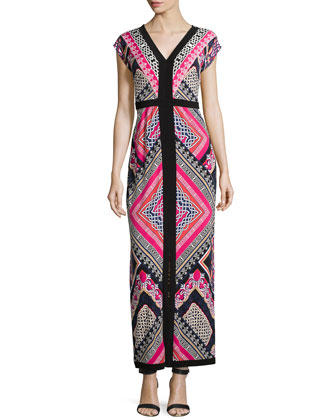 Geometric-Print Maxi Dress, Pink Multi