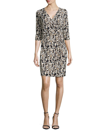 Side-Twist Wrap Dress, Black/Multi