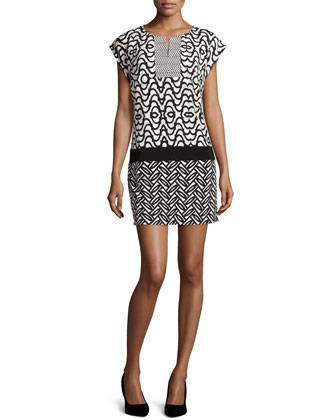 Printed Jersey Mini Dress, Black/White
