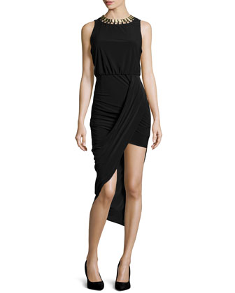 Embellished Asymmetric-Hem Dress, Black