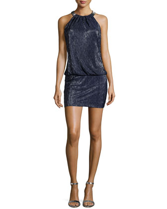 Metallic Mini Dress, Dark Midnight
