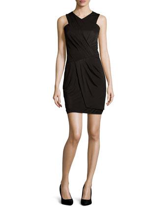 Wrap-Front Cocktail Dress, Black