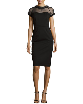 Embellished Neckline Dress, Black