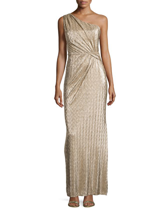 One Shoulder Ruched Gown, Gold