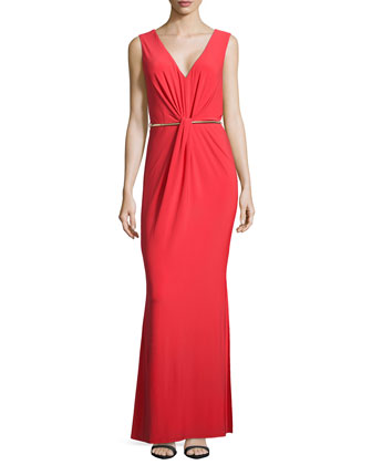 Fitted Gown with Metal Belt, High Risk Red