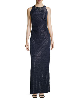 Embellished Neckline Foil Gown, Dark Midnight