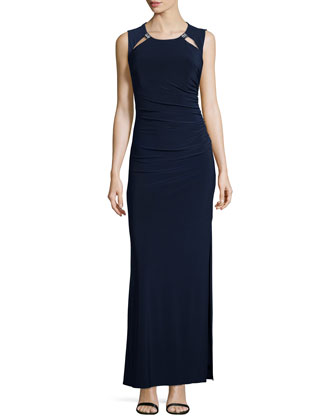 Cutout Detailed Ruched Gown, Dark Midnight