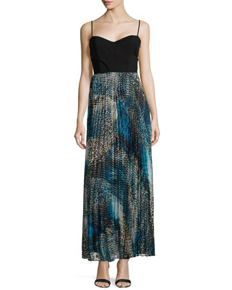 Pleated Animal Print Maxi Dress, Blue Multi
