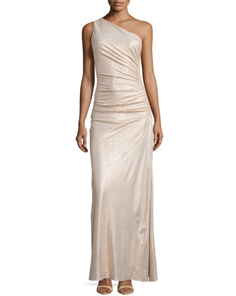 One-Shoulder Ruched Gown, Gold
