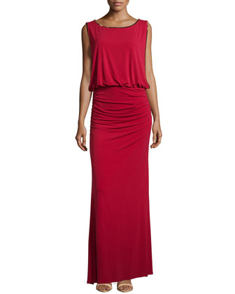 Embellished Blouson Gown, Aurora Red