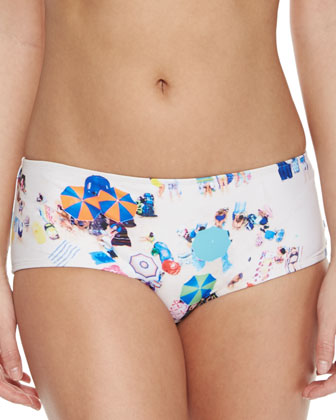 UPF 50 Beach-Print Bandeau Top, Hipster Bottom & Capri Leggings
