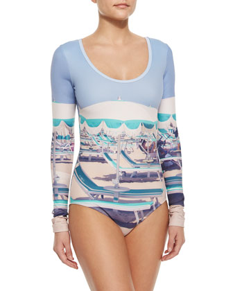 UPF 50 Long-Sleeve Graphic One-Piece Swimsuit