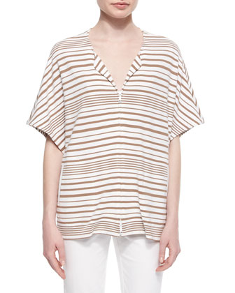 Short-Sleeve Striped Jacket