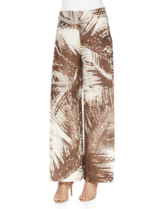 Cap-Sleeve Multi-Stitch Sweater & Wide-Leg Leaf-Print Pants W/ Overlay