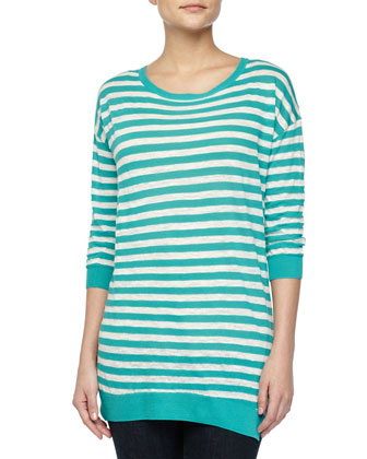 Three-Quarter-Sleeve Striped Sweater, Caribbean