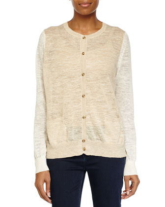 Sheer Button-Up Sweater, Linen White/Heath