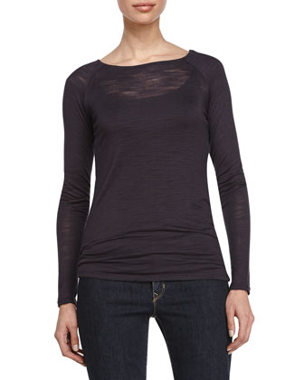 Semisheer Long-Sleeve Sweater, Charcoal