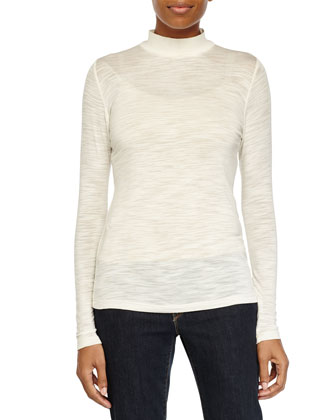 Sheer Long-Sleeve Knit Top, Bone