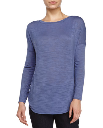 Long-Sleeve Knit Top, China Blue