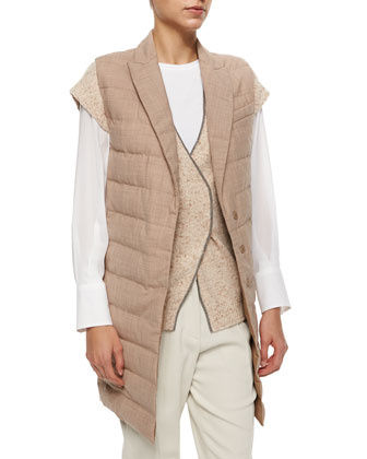 Mid-Length Wool Puffer Vest, Wheat