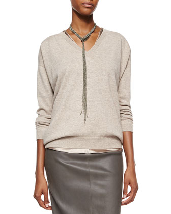 Cashmere Boyfriend V-Neck Sweater, Reversible Satin V-Neck Bias-Cut Tank & ...