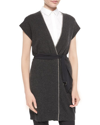 Cashmere Long Tie-Waist Cardigan, Poplin Sleeveless Shirt & Lightweight ...