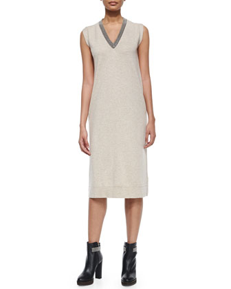 Monili-Trimmed V-Neck Cashmere Midi Dress