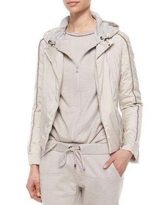 Silk Monili Trim Jacket, Dove