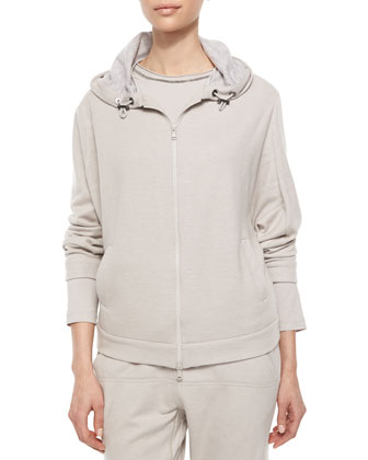Cashmere Hooded Zip Sweatshirt, Dove