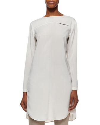 Cashmere Peacoat Jacket, Long-Sleeve Silk Monili-Detail Tunic & ...