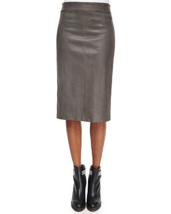 Leather Stretch Pencil Skirt, Graphite