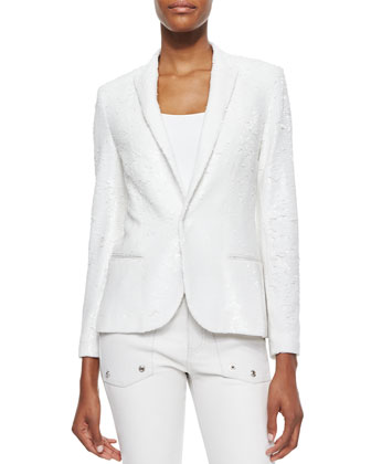 Sequined Snap-Front Blazer, White