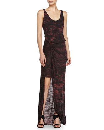 High-Low Printed Cocktail Dress, Aubergine