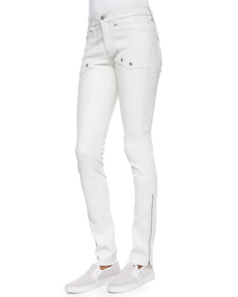 Evrell Zipper-Cuff Leather Pants