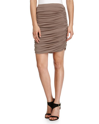 Ruched Pencil Skirt, Taupe